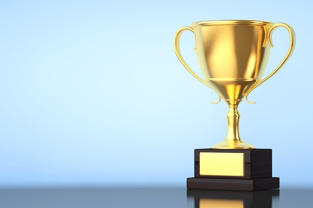 Чемпион золотой кубок трофей на синем фоне
