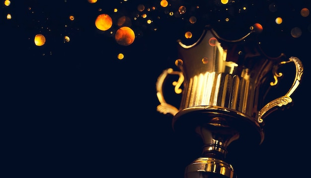 검은 배경에 고립 된 챔피언 황금 트로피입니다.