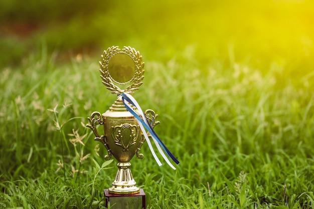 Золотой трофей чемпиона помещен на землю