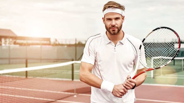 Champions keep playing until they get it right attractive tennis player with a racket on