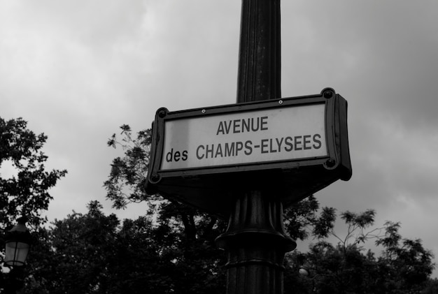 Champs elysee sign in paris france
