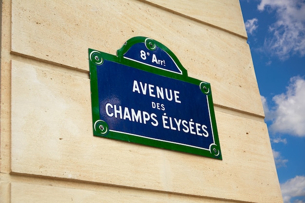 Champs elysees avenue street sign in paris