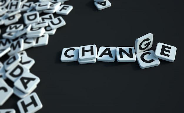 문자 타일 검은 색으로 쓰여진 기회 또는 변경