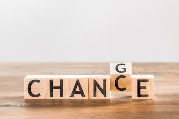 Chance word letters on desk