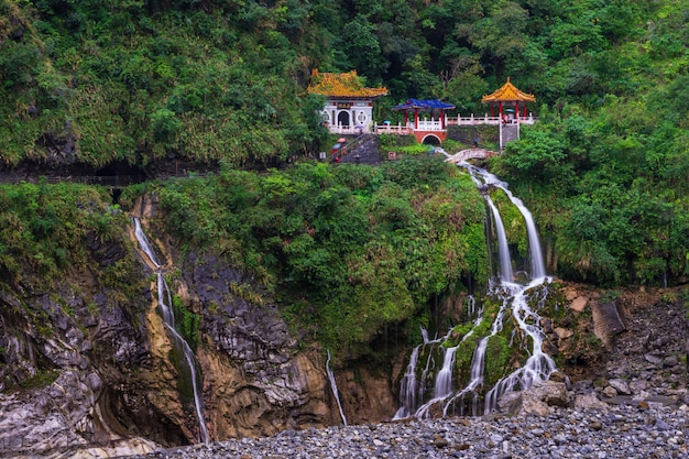 Changchun temple on eternal spring shrine and waterfall