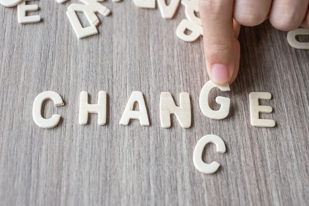 Change and chance word of wooden alphabet letters. business and idea concept
