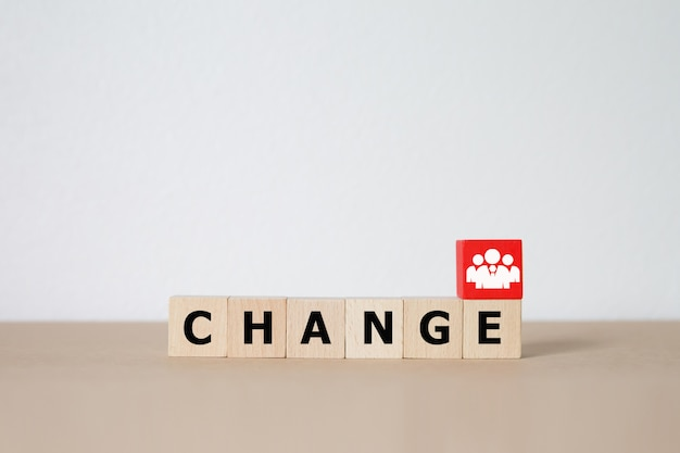 Change concept graphic on wooden block.