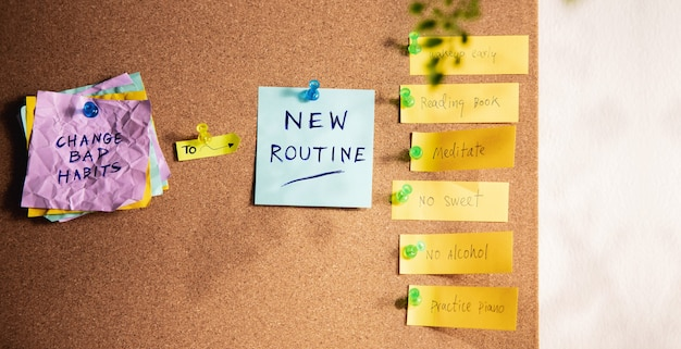 Change concept. new routine from old to new habits by sticky note