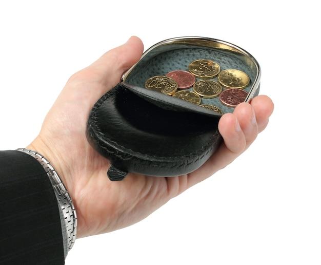 흰색 바탕에 손바닥에 지갑을 변경