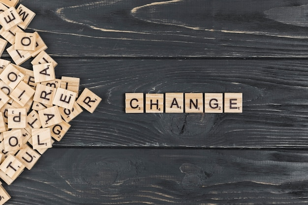 Change word on wooden background