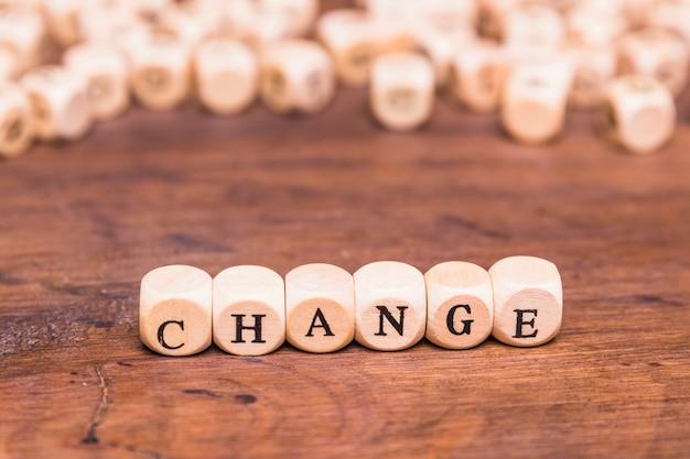 木製のブロックに書かれた単語を変更する