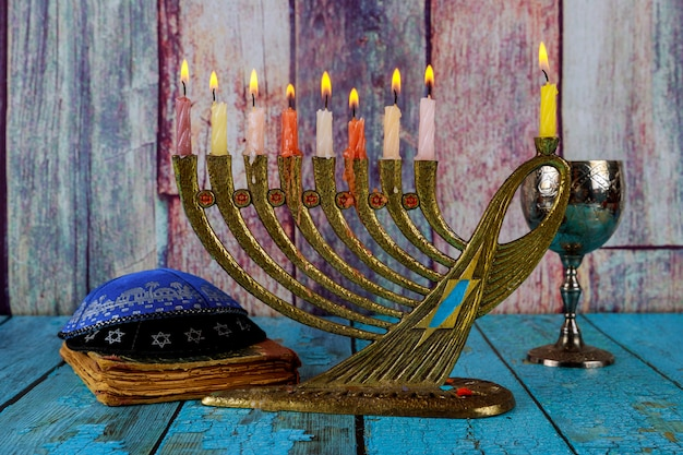 Chanukah candles all a jewish symbol with kosher wine celebration and kipah
