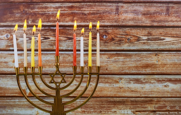 Chanukah candles all in a symbol jewish holiday