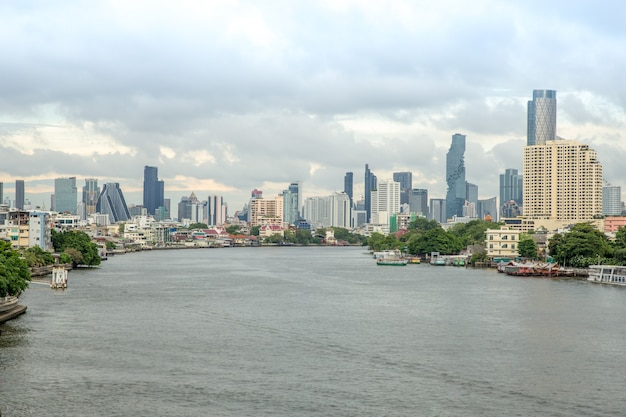 Chao phraya river and river side view