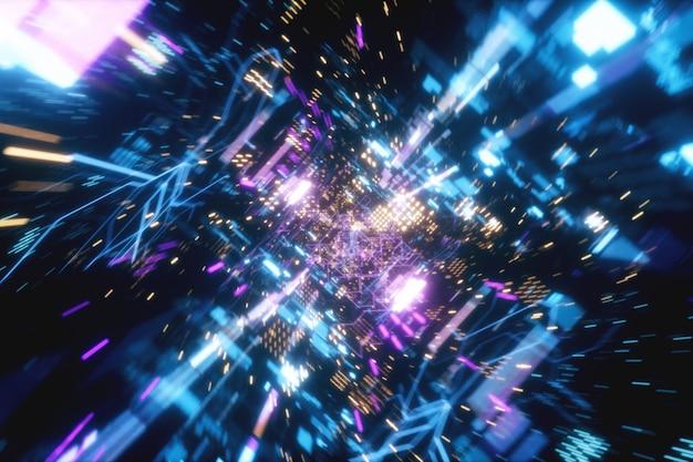 カオス技術の未来的な宇宙トンネル