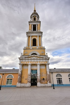 Chapel of st. john the theologian in kolomna, white and yellow bell tower against the sky