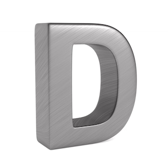 Character d on white space. isolated 3d illustration