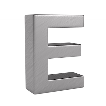 Character e on white space. isolated 3d illustration