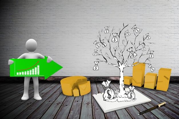 Характер держит зеленую стрелку рядом с деревом с деньгами