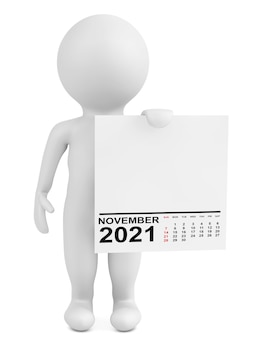 白い背景の上のキャラクター保持カレンダー2021年11月。 3dレンダリング