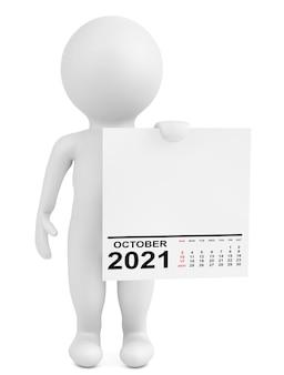 白い背景の上のキャラクター保持カレンダー2021年10月。 3dレンダリング