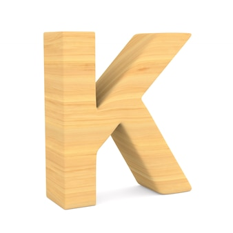 Character k on white space. isolated 3d illustration