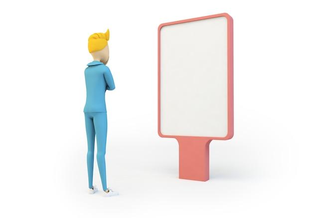 Character looking at blank advertising