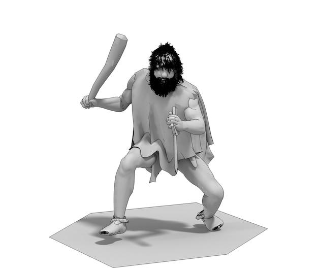 Персонаж средневекового человека, 3д иллюстрация