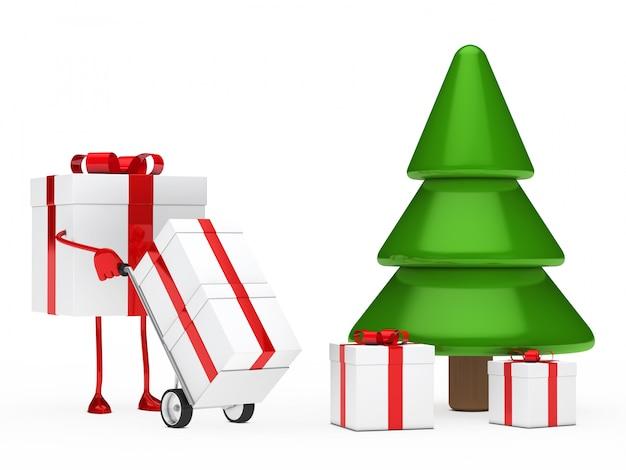 나무 아래 선물을 놓는 캐릭터