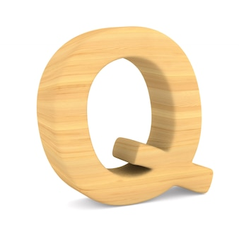 Character q on white space. isolated 3d illustration