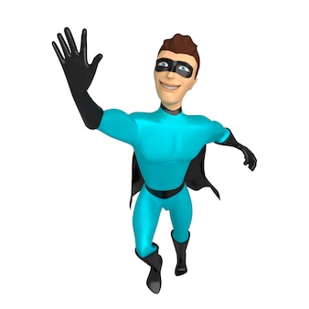 Character a superhero in a blue suit with a raised hand 3d illustration