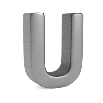 Character u on white space. isolated 3d illustration