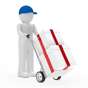いくつかの贈り物を運ぶ青いキャップ付きの文字