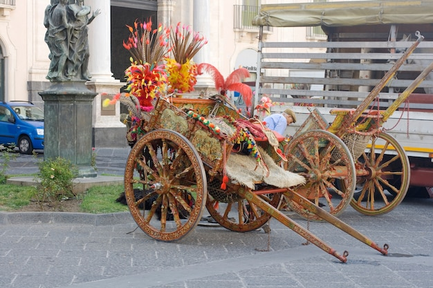 Characteristic sicilian oxcart
