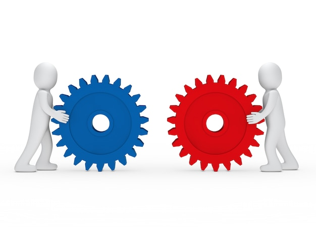 Characters playing with colorful gears
