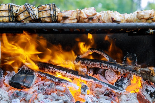 Charcoal barbecue grill with flame and cooking meat in soft focus.
