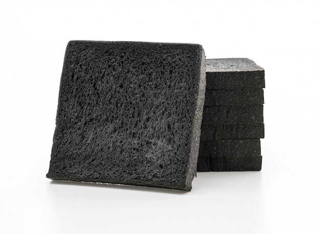 Charcoal bread on white