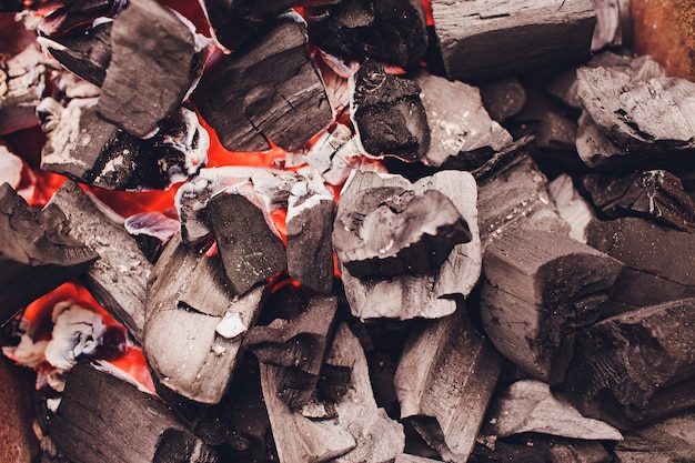 Charcoal briquettes firing up for the grill.