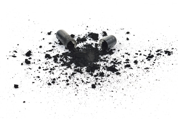 Charcoal capsules isolated