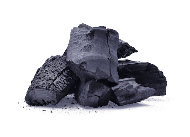 Charcoal isolated on white