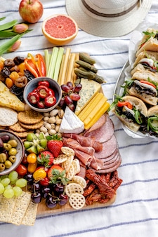 Charcuterie board with cold cuts, fresh fruits and cheese, summer picnic