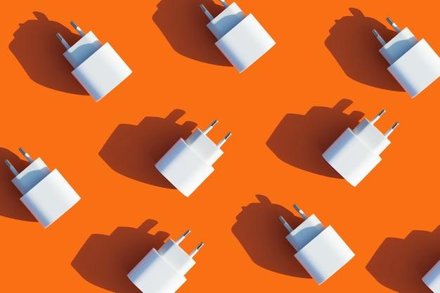 주황색 배경에 가제트 및 전화기용 충전기