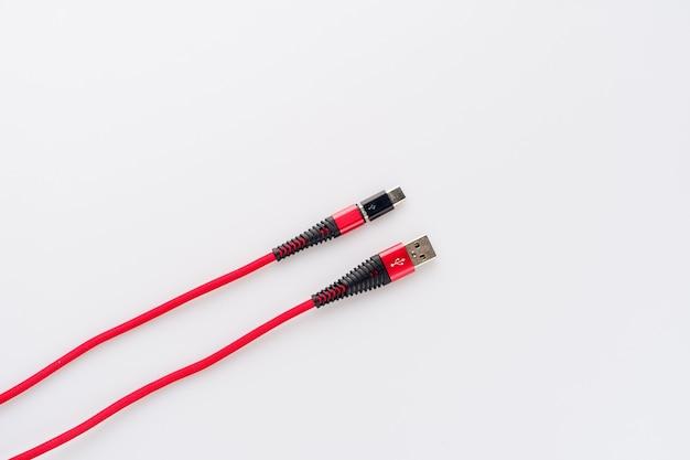 충전 및 연결 빨간색 케이블 usb- 마이크로 유형 c 어댑터-이미지