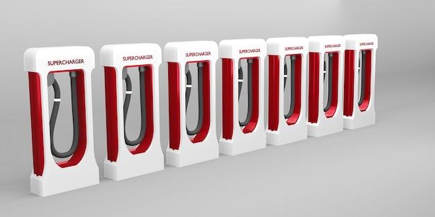 Зарядная станция аккумулятор электромобиля новая энергетическая концепция технологии 3d иллюстрации
