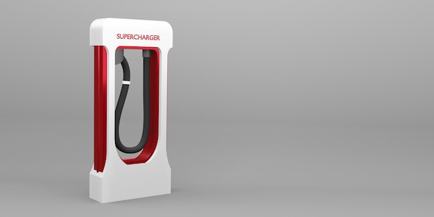 Зарядная станция аккумулятор электромобиля новая энергетическая технология концепция 3d иллюстрации
