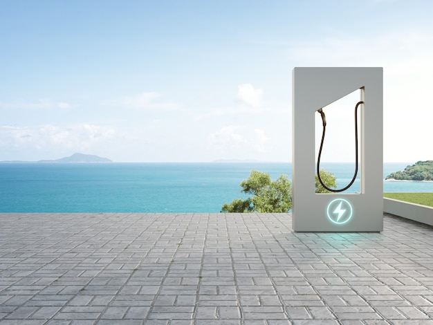 Зарядная станция на мощеном полу в концепции экологически чистой энергии