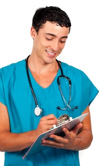 Charismatic doctor holding a stethoscope
