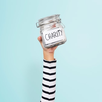 Charity money jar for donation campaign