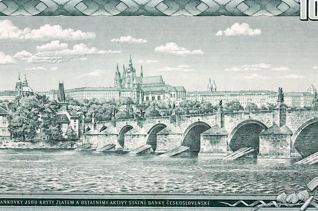 Charles bridge and hradcany in prague from money