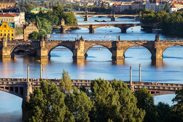 Charles bridge and layer of bridge over the river at prague, czech republic, europe